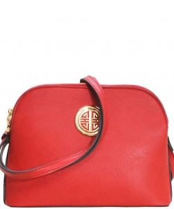 Messenger Handbag Design Faux Leather Classic Style WU040 NC RED
