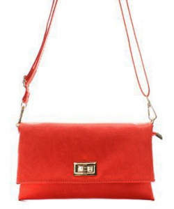 Fashion Faux Leather Messenger Clutch Bag WU071 CORAL