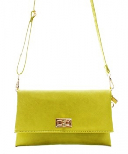 Fashion Faux Leather Messenger Clutch Bag WU071 LIME