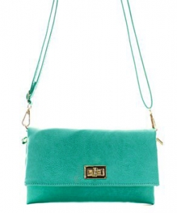 Fashion Faux Leather Messenger Clutch Bag WU071 TURQUOISE