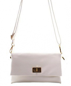 Fashion Faux Leather Messenger Clutch Bag WU071 WHITE
