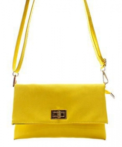Fashion Faux Leather Messenger Clutch Bag WU071 YELLOW