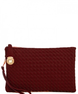 Fashion Woven Clutch Crossbody Bag WU042 BURGUNDY