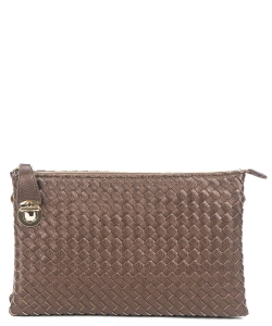 Fashion Woven Clutch Crossbody Bag WU042 BRONZE
