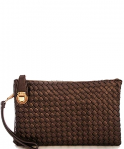 Fashion Woven Clutch Crossbody Bag WU042 COFFEE