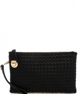 Fashion Woven Clutch Crossbody Bag WU042 CHARCOAL GY