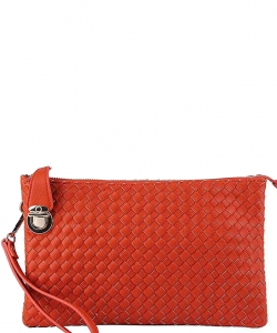 Fashion Woven Clutch Crossbody Bag WU042 CARROT