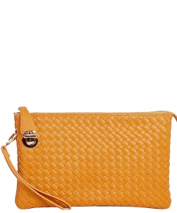 Fashion Woven Clutch Crossbody Bag WU042 MUSTARD