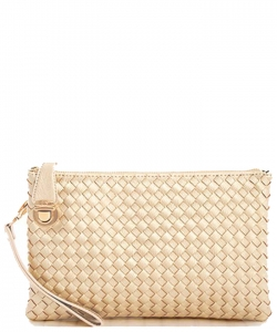Fashion Woven Clutch Crossbody Bag WU042 RGOLD