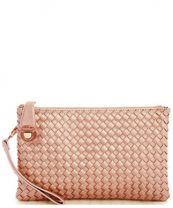 Fashion Woven Clutch Crossbody Bag WU042 RPINK