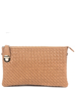 Fashion Woven Clutch Crossbody Bag WU042 STONE