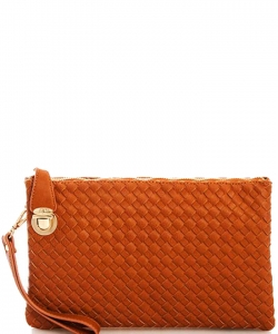 Fashion Woven Clutch Crossbody Bag WU042 TAN