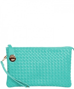 Fashion Woven Clutch Crossbody Bag WU042 TURQUIOSE