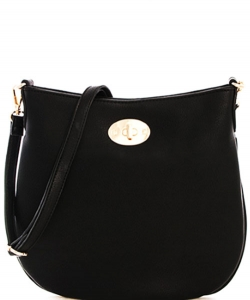 Faux Leather Handbag WU043  BLACK