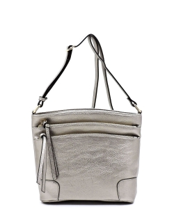 All-In-One Tassel Detailed Crossbody Bag/ Messenger Bag with Double-zipped front compartment WU059 LPEWTER