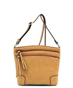 All-In-One Tassel Detailed Crossbody Bag/ Messenger Bag with Double-zipped front compartment WU059 MUSTARD