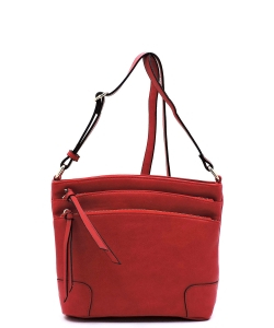 All-In-One Tassel Detailed Crossbody Bag/ Messenger Bag with Double-zipped front compartment WU059 RED