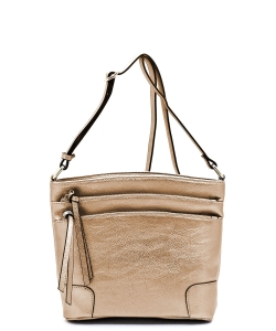All-In-One Tassel Detailed Crossbody Bag/ Messenger Bag with Double-zipped front compartment WU059 RGOLD