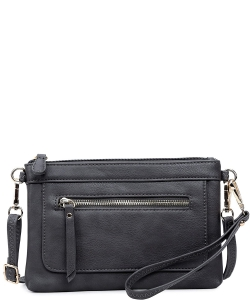 Multi Compartment Faux Leather Wristlet & Crossbody Bag WU060 CHARCOAL