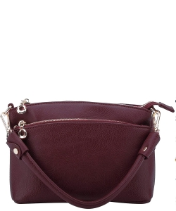 Designer Inspired Zipper Pocket Top Handbag WU065 BURGUNDY