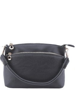 Designer Inspired Zipper Pocket Top Handbag WU065 CHARCOAL GRAY