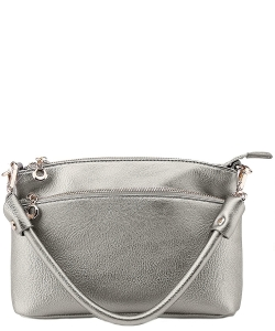Designer Inspired Zipper Pocket Top Handbag WU065 LIGHT PEWTER
