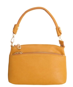Designer Inspired Zipper Pocket Top Handbag WU065 MUSTARD