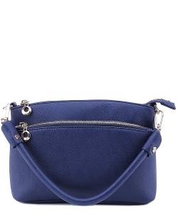Designer Inspired Zipper Pocket Top Handbag WU065 NAVY