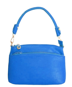 Designer Inspired Zipper Pocket Top Handbag WU065 RBLUE