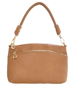 Designer Inspired Zipper Pocket Top Handbag WU065 STONE
