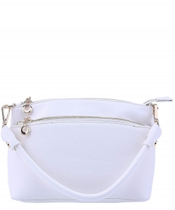 Designer Inspired Zipper Pocket Top Handbag WU065 WHITE