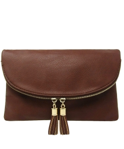 Women's Envelop Clutch Crossbody Bag With Tassels Accent WU075  COFFEE