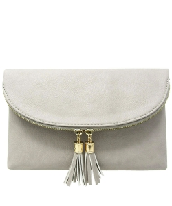 Women's Envelop Clutch Crossbody Bag With Tassels Accent WU075  GRAY