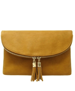 Women's Envelop Clutch Crossbody Bag With Tassels Accent WU075  MUSTARD