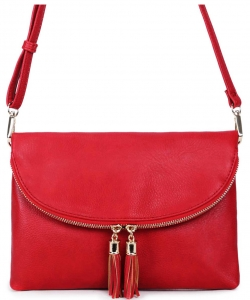Fashion Faux Leather Messenger Clutch Bag WU075 RED