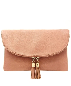 Women's Envelop Clutch Crossbody Bag With Tassels Accent WU075  ROSEPINK