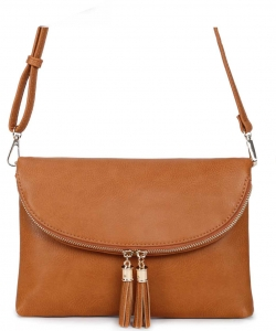 Fashion Faux Leather Messenger Clutch Bag WU075 TAN