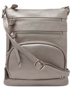 Multi Zip Pocket Crossbody Bag WU078 LIGHT PEWTER
