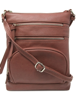 Multi Zip Pocket Crossbody Bag WU078 COFFEE