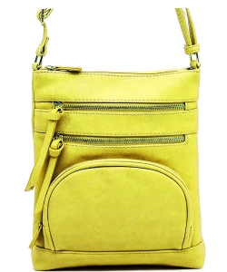 Multi Zip Pocket Crossbody Bag WU078 MUSTARD