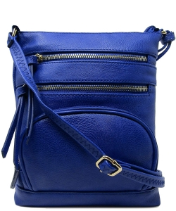 Multi Zip Pocket Crossbody Bag WU078 ROYAL BLUE