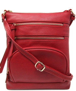 Multi Zip Pocket Crossbody Bag WU078 RED