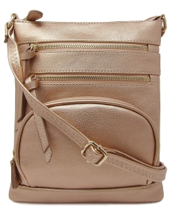 Multi Zip Pocket Crossbody Bag WU078 RGOLD