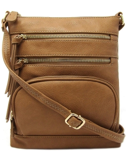 Multi Zip Pocket Crossbody Bag WU078 STONE