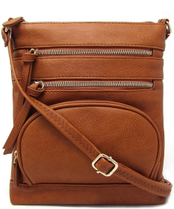 Multi Zip Pocket Crossbody Bag WU078 TAN