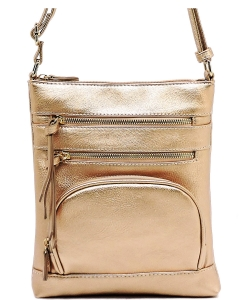 Multi Zip Pocket Crossbody Bag WU078 ROSEGOLD
