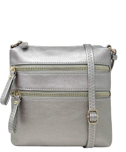 Double Zip Fashion Crossbody Bag WU085 LPEWTER