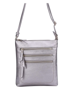 Crossbody Purse Bag Triple Zipper WU093 LPEWTER
