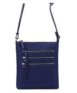 Crossbody Purse Bag Triple Zipper WU093 NAVY
