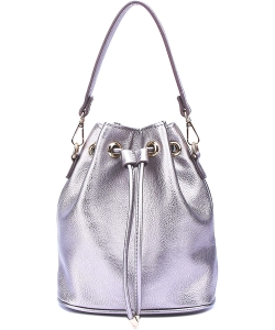 Drawstring Bucket Handbag for Women WU096 LIGHT PEWTER